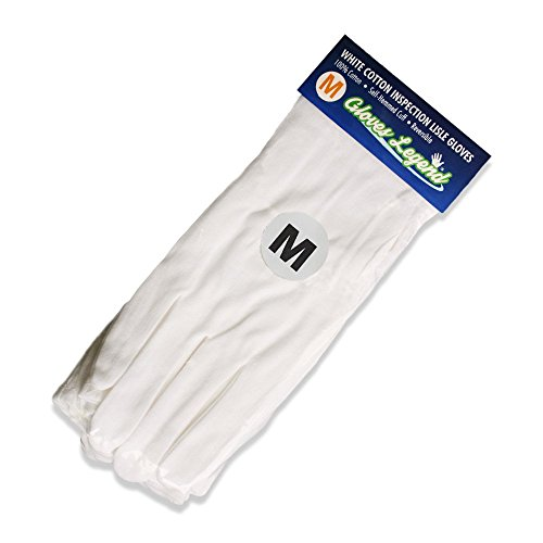 s (12 Gloves) Gloves Legend White Coin Jewelry Silver Inspection Cotton Lisle Moisturizing Gloves - Medium Weight (12 Pair Oil)