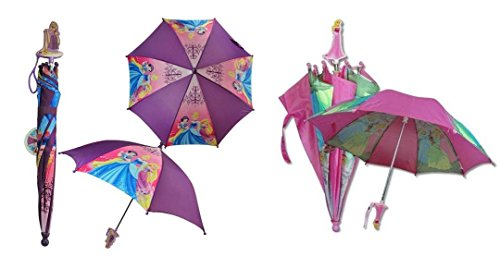 Disney Princess Kids Umbrella Bundle with 3D Handle : 1 - Purple, 1 - Pink ()