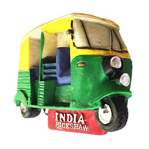 Fridge Magnet Rickshaw New Delhi India 3D Resin Handmade Craft Tourist Travel City Souvenir Collection Letter Refrigerator Sticker