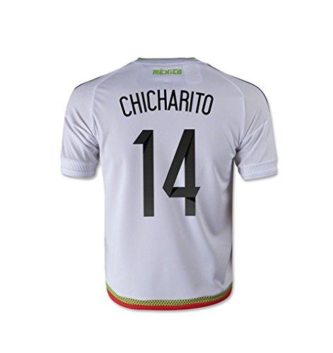 フィードオン無声で手首adidas CHICHARITO #14 Mexico Away Jersey 15/16- Youth (Authentic name and number of player) /サッカーユニフォーム メキシコ アウェイ用 2015-16 チチャリート 背番号14 ジュニア向け
