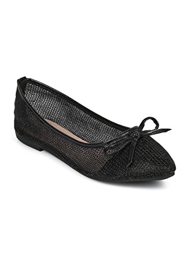- Indulge Dew-1-A Women Mesh Capped Toe Bow Tie Ballet Flat HE04 - Black Mix Media (Size: 8.5)