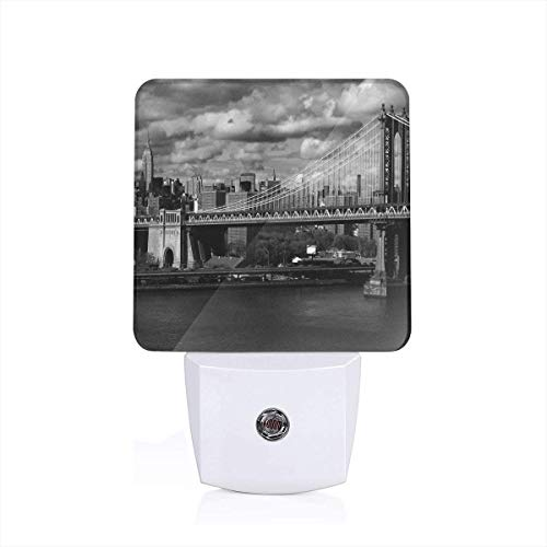 Colorful Plug in Night,Black and White Panorama of New York City Skyline with Focus On Manhattan Bridge Photo,Auto Sensor LED Dusk to Dawn Night Light Plug in Indoor for Childs Adults