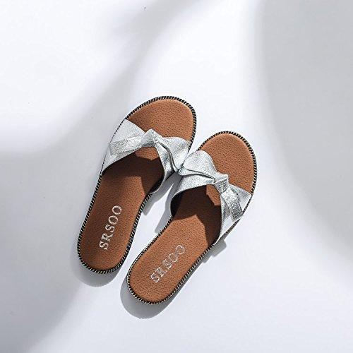 sandalias cool mujer zapatillas fondo plano de bow Thirty planas five Zapatillas y Donyyyy fresco de verano q0txwST1