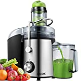 Juicer Aicok 1000W Powerful Juicer Machine Real 3'' Whole Fruit and Vegetable Feeder
