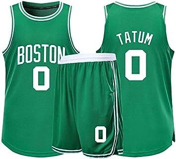 NBA Boston Celtics # 0 Jayson Tatum Adultos Unisex Ni/ños Transpirable Baloncesto Ropa Deportiva Set,Verde,2XS:136~144CM XSJY Jerseys Conjunto De Baloncesto De Los Hombres