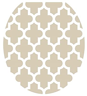 Toilet Tattoos, Toilet Seat Cover Decal, Taupe Quatrefoil, Size Standard/round