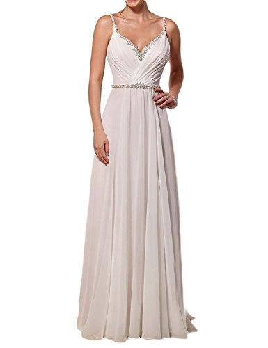 Amore Bridal Women's Beaded Straps Floor Length Wedding Dress V Neck 2017