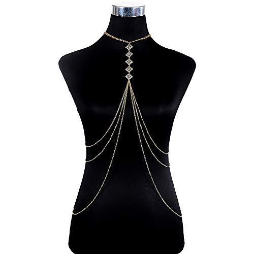 SIYWINA Body Chain Bikini Belts Belly Waist Jewelry Necklace Crossover Harness Rhombus for Women Beachwear
