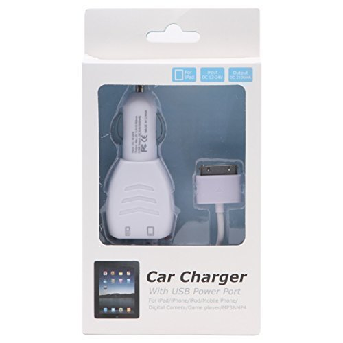 Texet high quality dual output car Charger with dedicated 30 pin apple connector cable