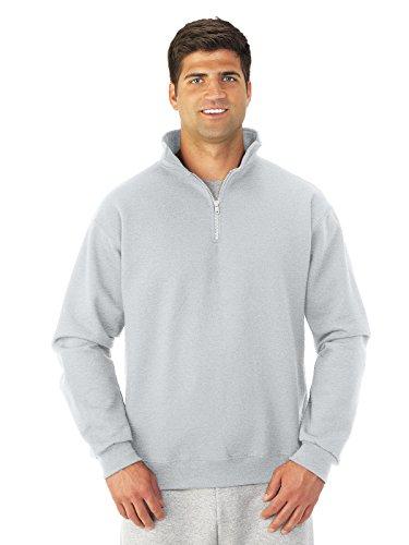 Jerzees 4528 Adult Super Sweats 1 By 4 Zip Cadet Collar Sweatshirt - Ash, Small