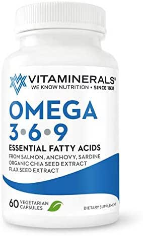 Vitaminerals Omega 3 6 9 Essential Fatty Acid Clean Organic Non GMO Fish Powder Flax Seed and Organic Chia Seed Extract 60 Capsules