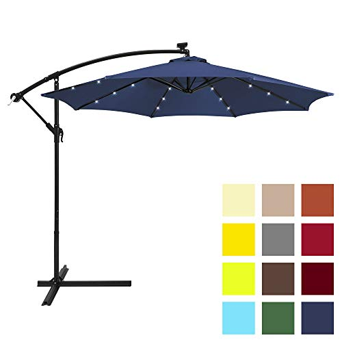 Best Choice Products 10ft Solar LED Offset Hanging Market Patio Umbrella w/Easy Tilt Adjustment, Polyester Shade, 8 Ribs for Backyard, Poolside - Navy Blue (Lights Umbrella Patio Powered Solar Led)