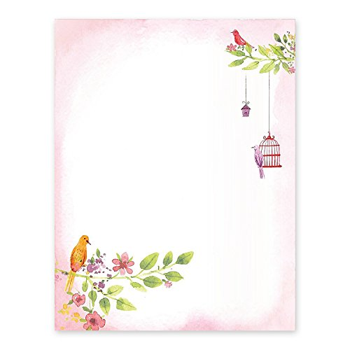 100 Stationery Writing Paper, with Cute Birds Designs Perfect for Notes or Letter Writing - Birds by KodyCreations