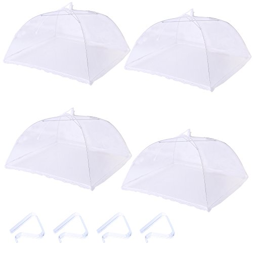 4 Packs Pop-up Mesh Food Covers and 4 Tablecloth Clips,Reusable and Collapsible Outdoor Food Tents Keep Out Flies,Bugs,Mosquitoes.Tablecloth Clamps Will Keep Your Picnic Tablecloth in Place,17 Inches