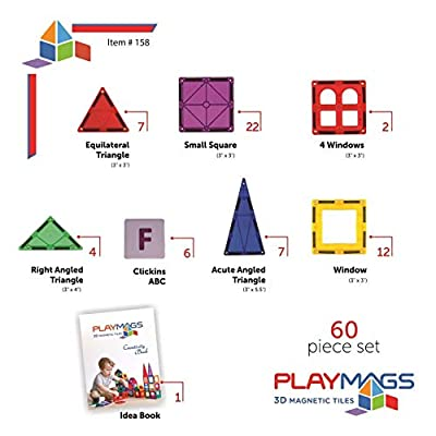 Playmags 60 Piece Set: Now with Stronger Magnets, Sturdy, Super Durable with Vivid Clear Color STEM Magnetic Toys Develop Motor Skills & Creativity, Colorful, Durable Magnet Building Tiles: Toys & Games
