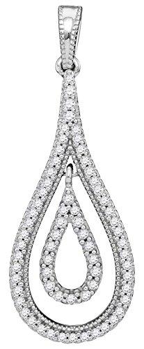 (Diamond Teardrop Dangle Pendant 10k White Gold Drop Charm Pear Shape Fashion Style Polished 1/4 Cttw)