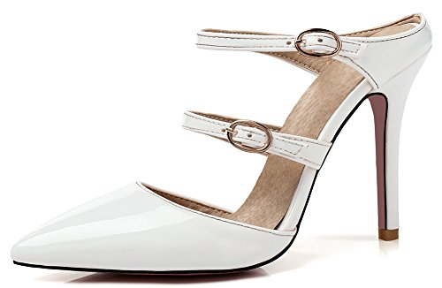 ce0b497e11d SHOWHOW Women s Elegant Party Pointy Toe Two Straps Slide On Mules Sandals  White 6.5 B(