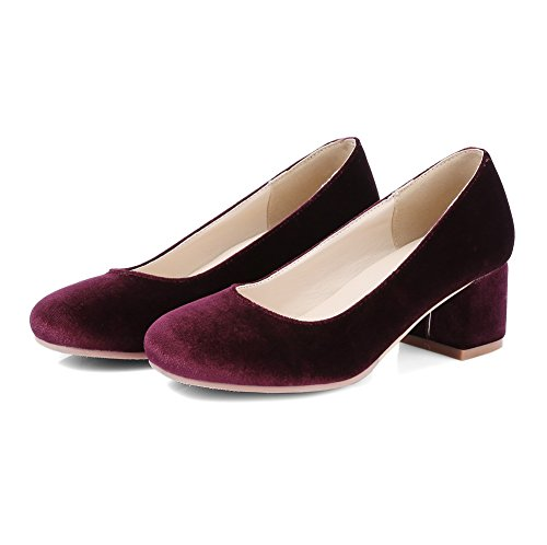 BalaMasa Womens Chunky Heels Low-Cut Uppers Pull-On Suede Pumps-Shoes Claret 0ZCQs38