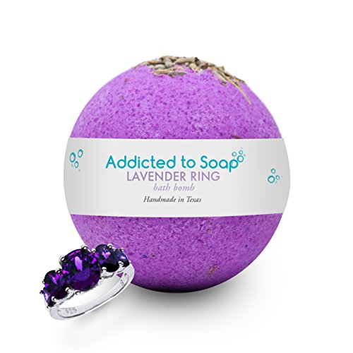 Addicted to Soap - Lavender Ring Bath Bomb | Ultra Luxurious - Extra Large 6oz Bath Bomb with STERLING SILVER RING Surprise Inside - Organic Sensual Relaxation (Ring Size 9)