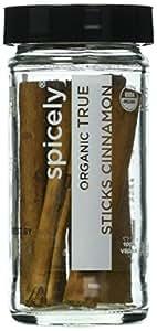 Spicely Organic Cinnamon True Sticks (Ceylon) 6 Count Jar Certified Gluten Free