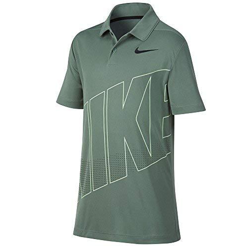 Nike Dri Fit Essential GRFX 2 Golf Polo 2018 Boys Clay Green/Black Youth Medium