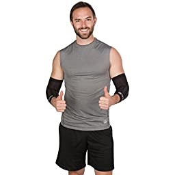 2-Pack Copper Infused Compression Elbow Sleeves for Arm Pain - Provides Relief & Support for Sore Muscles & Tendons by WIMI Sports & Fitness - Large