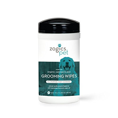(Zogics Pet Multi-Purpose Dog Grooming Wipes with Organic Oatmeal & Aloe - Thick, Hypoallergenic Wipes for Spot Cleaning and Between Baths )