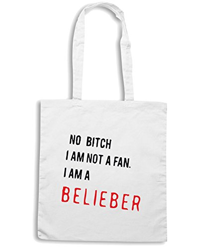 T-Shirtshock - Borsa Shopping TDM00185 no bitch i am not a fan i am a beliber Bianco