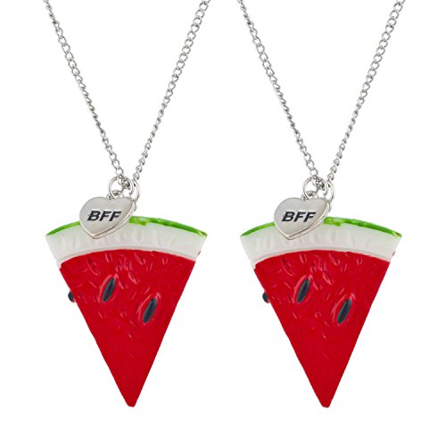 Lux Accessories Silver Tone Watermelon Novelty BFF Best Friends Necklace Set 2PC