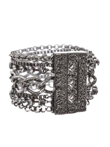 GUESS Gunmetal Multi row Layered Bracelet