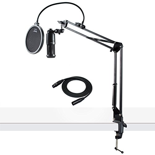 Audio-Technica AT2020 Condenser Studio Microphone with XLR Cable Knox Studio Stand and Pop - Audio Technica Condenser Studio At2020
