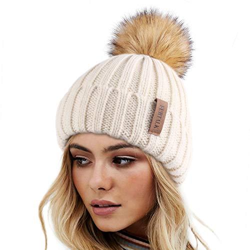Womens Knitted Winter Pom Beanie Hat Faux Fur Pom Pom bobble Hat beanie for girls,One Size Beige
