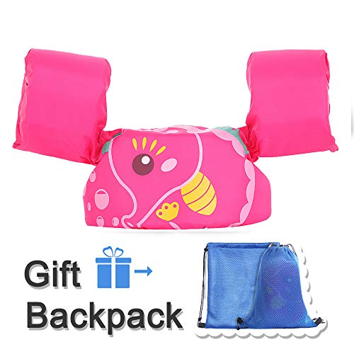 TEWENE Kid Toddler Swim Vest Life Jacket Vest Kid Floaties Vest with Adjustable Chest Strap and Storage Bag Suitable for 22-66 lbs/Beach/Pool/Ocean (Pink Hippocampi)