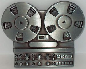 Price comparison product image Reel To Reel Tape Player Design New Steel Music Belt Buckle