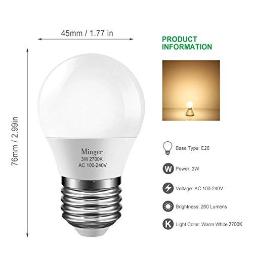 LED 3W (25 Watt Equivalent) Light Bulbs, Warm White 2700K LED Energy Saving Light Bulbs, E26 Medium Screw Base LED Lights for Home Refrigerator Light Bulb(6 Pack)