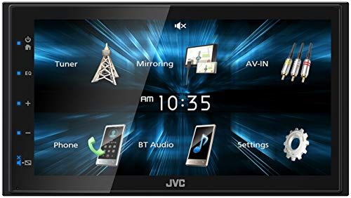 - JVC KWM150BT Car Digital Media Player - Double Din, Bluetooth Audio and Calling, 6.8 Inch LCD Clear Resistive Touchscreen, MP3 Player, WMA, USB, SD, Auxiliary Input, AM/FM Radio, Short Chassis