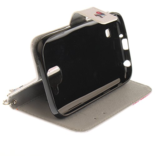 Para LG K3 2017 4,5 Zoll funda, (tigre blanco) caja del teléfono de la PU patrón en pintado ,Función de Soporte Billetera con Tapa para Tarjetas correa de mano soporte para teléfono moda del perro