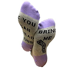 Must Rose Unisex Cotton Socks IF YOU CAN READ THIS BRING ME chocolate Socks (One Size, purple)