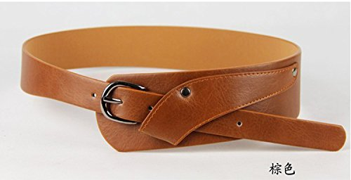 2015 Fashion PU Leather Vintage Waist Belts for Women oblique buckle wide strap cross body Women cummerbund belt Obi female wide (Brown) (Reversible Obi)