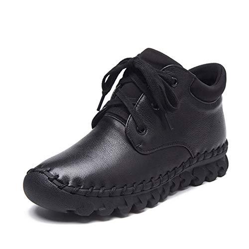 Invierno Plana Plataforma Negro Zapatos Otoño Antideslizantes De Cuero Cordones Con Vaca wOEqz5Enf