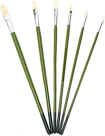 水彩筆 ブラシアーティストがセットペイントペイントブラシ6個ペイントブラシロングハンドル髪の毛をペイントグリーンロッド とても使用やすいです (色 : 緑, Size : 6pcs)
