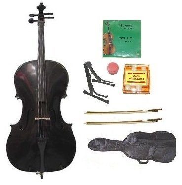 Merano MC10BK 4/4 (Full) Size Black Cello with Soft Carrying Bag and Bow+2 Sets Strings+2 Bows+Pitch Pipe+Cello Stand+Rosin