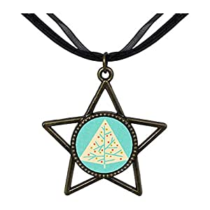 Chicforest Bronze Retro Style christmas tree Five Pointed Star Pendant