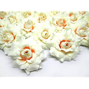 "(24) Silk Cream Roses Flower Head - 1.75"" - Artificial Flowers Heads Fabric Floral Supplies Wholesale Lot for Wedding Flowers Accessories Make Bridal Hair Clips Headbands Dress 5"
