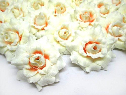 (24) Silk Cream Roses Flower Head - 1.75