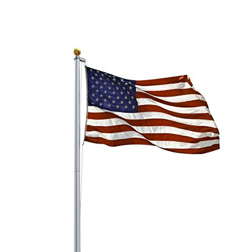 20ft Aluminum Sectional Flagpole Kit Outdoor Halyard Pole + 1PC US American Flag