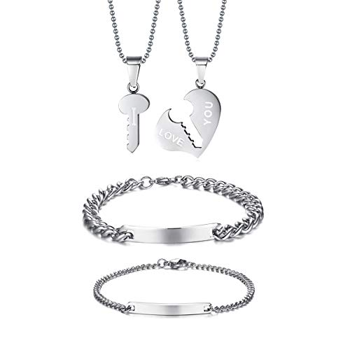VNOX Customize Couple Stainless Steel Heart Key Matching Couple Pendant Bracelet Set for Anniversary,Silver by VNOX