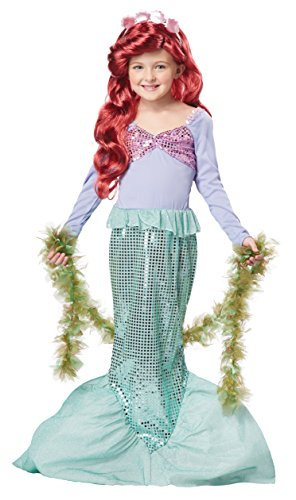 Seaweed Costumes Boa (California Costumes Little Mermaid Girls Costume, Seaweed Boa & Wig Bundle Costume, Green)