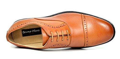 Bruno Marc Menns Halsted Skinn Foret Cap-toe Kjole Oxfords Sko 2-brown