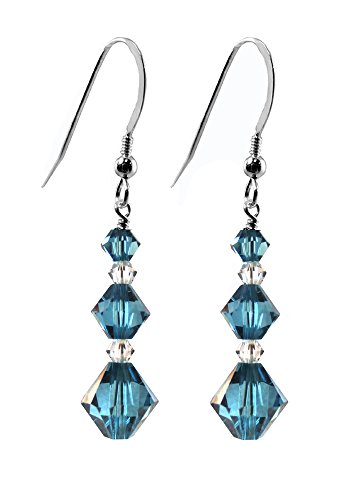 Earrings made with Swarovski Crystal Elements 3 Indicolite Colored Bicones, Silver Frenchwire